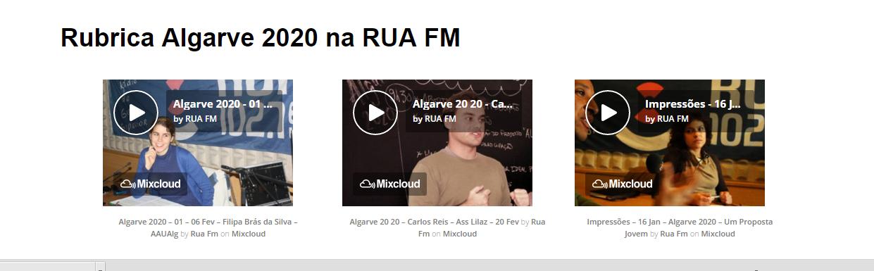 Rubrica Algarve 2020 na RUA FM